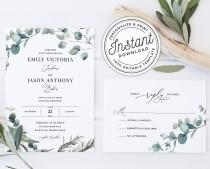 wedding photo - Bohemian Wedding Invitation Template Suite with Eucalyptus Greenery Border • INSTANT DOWNLOAD • Printable, Editable Template #023
