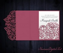 wedding photo - Tri-Fold Roses 5x7 Wedding Invitation Pocket Envelope SVG Template, Quinceanera card, laser cut file, Silhouette Cameo, Cricut