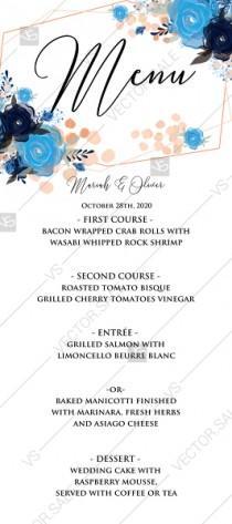 wedding photo -  Menu card template royal navy blue rose peony indigo watercolor pdf custom online editor custom 4''*9''
