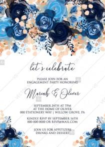 wedding photo -  Engagement party invitation royal navy blue rose peony indigo watercolor pdf online editor 5''*7''