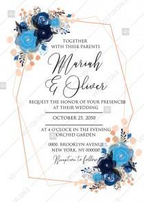 wedding photo -  Wedding invitation royal navy blue rose peony indigo watercolor pdf online editor 5''*7''