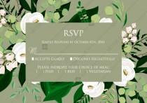 wedding photo -  RSVP card greenery herbal grass white peony watercolor pdf custom online editor 5*3.5''