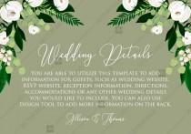 wedding photo -  Wedding Details card greenery herbal grass white peony watercolor pdf custom online editor 5*3.5''