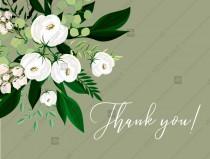 wedding photo -  Thank you card greenery herbal grass white peony watercolor pdf custom online editor 5.6*4.25''