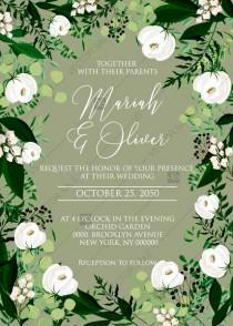 wedding photo -  Wedding invitation greenery herbal grass white peony watercolor pdf custom online editor 5''*7''
