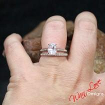 wedding photo - Light Pink & White Sapphire Engagement Ring Set, Celebrity, Eternity Wedding Band, 2ct, 8x6mm, Custom