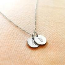 wedding photo - Sterling Silver Initials Necklace / Initials Disc Necklace / Bridesmaid Gift / Wedding Gift / Personalised Necklace / Customised Necklace