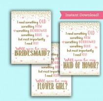 wedding photo - Will you be my Bridesmaid/ Maid of Honor/ Flower Girl Cards - Wedding Party Proposal - Printable PDF, Instant Download Ask Pop the Question