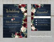 wedding photo - Rustic Navy Floral Fall Wedding Invitation,Burgundy,Blush,Navy Blue,Roses,Barn Wood,Gold Print,Shimmery,Printed Invitation,Wedding Set