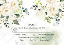 wedding photo -  RSVP card white rose peony greenery watercolor wedding invitation free custom online editor 5*3.5''