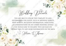 wedding photo -  Wedding details white rose peony greenery watercolor free custom online editor 5*3.5''