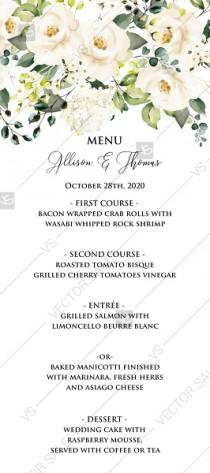 wedding photo -  Wedding menu white rose peony greenery watercolor free custom online editor 4''*9''