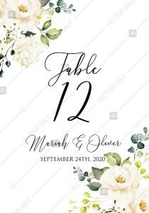 wedding photo -  Table number card White rose peony greenery watercolor free custom online editor 3.5''*5''