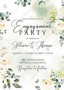 wedding photo -  White rose peony greenery watercolor engagement invitation free custom online editor 5''*7''