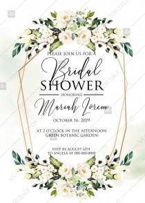 wedding photo -  White rose peony greenery watercolor bridal shower invitation free custom online editor 5''*7''