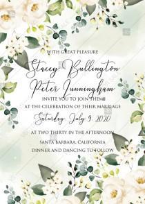wedding photo -  White rose peony greenery watercolor wedding invitation free custom online editor 5''*7''