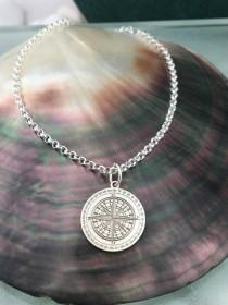 wedding photo - Compass necklace, compass charm, compass gift, compass pendant, personalized compass, thick chain, Travel Necklace, Travel Jewelry Gifts