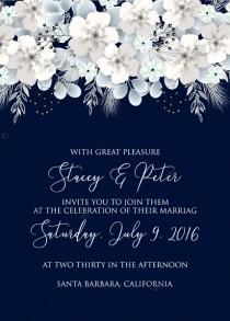 wedding photo -  Wedding invitation white hydrangea navy blue background online invite maker 5''x 7''