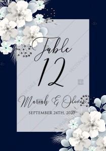 wedding photo -  Table card white hydrangea navy blue background online invite maker 5.6''x 4.25''