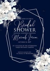wedding photo -  Bridal shower invitation white hydrangea navy blue background online invite maker 5''x7''