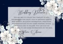 wedding photo -  Wedding Details card white hydrangea navy blue background online invite maker 5''x 3.5''