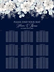 wedding photo -  Seat card white hydrangea navy blue background online invite maker 18''x 24''
