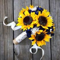 wedding photo - Navy Sunflower Bouquet, Navy Blue Bouquet, Sunflower Bouquet, Rustic Sunflower Bouquet