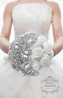 wedding photo - White Fabric Wedding Brooch Bouquet Ivory Silver Bridal Bouquet Bridesmaids Gift Broach Jewelry Bouquet Ivory Brides Crystal Brooch Bouquet