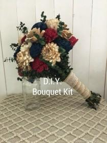 wedding photo - DIY Wood Flower Bouquet Kit Fall Bouquet