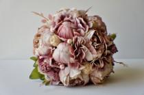 wedding photo - Peony Bridal Bouquet, Silk Wedding Flowers, Mauve Wedding Flowers, Vintage Wedding, Rustic Wedding Shabby Chic Wedding, Bride Bridesmade