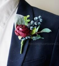 wedding photo - Burgundy Wedding Boutonnieres Men's boutonniere Groom Groomsmen boutonnieres Rustic Boutonniere Boho boutonniere