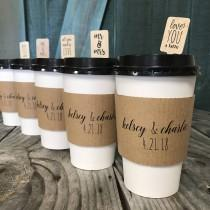 wedding photo - Personalized Printed Coffee Sleeves, White Cups and Black Lids - Pick Your Design - Recycled Natural Brown Kraft