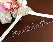 wedding photo - WEEKEND SALE. Personalized Bridal Wedding Hanger. Bridal Party. Custom Hanger. Pearl and Crystal Embellishment.