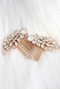 wedding photo - Bridal Hair Comb, Swarovski Opal Hair Comb, Rhinestone Hair Comb, Bridal Hair Accessories, Rose Gold Hair Comb, Bridal White Opal Hair Comb