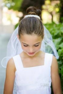 wedding photo - First  Holy Communion Wedding Pearl Bun  edged white tulle Veil attached Bride