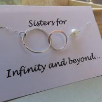 wedding photo - Sister Necklace, Interlocking Circle Necklace, Friendship Necklace, Sterling Silver Necklace, BFF Necklace, Bridesmaid Necklace