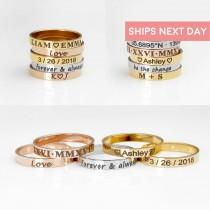 wedding photo - Personalized Ring For Women Gold Engraved Ring Custom Ring Gift for Mom Monogram Mothers Day Gift Ideas Mama Ring Popular Jewelry - R4