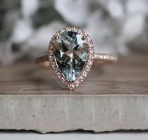 wedding photo - Natural Aquamarine and Diamond Engagement Ring, Pear 12x8mm Aquamarine Bridal Ring, 14k Rose Gold Diamond Wedding Band, Promise Ring