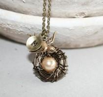 wedding photo - Bird Nest Necklace with Personalized Initial, Mothers Day Gift, Baby Nest Necklace, Bird Necklace, Mom Kids Necklace