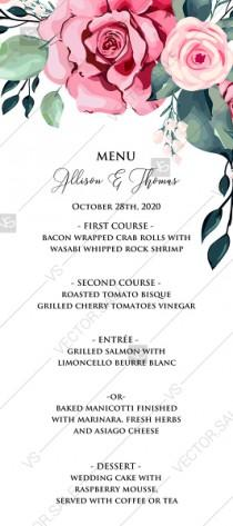 wedding photo -  Menu template watercolor rose floral greenery PDF 4 x 9 in custom online editor floral background