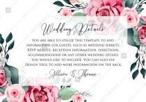 wedding photo -  Wedding detail card watercolor rose floral greenery PDF 5x3.5 in custom online editor anniversary invitation