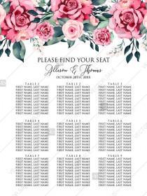 wedding photo -  Seat card watercolor rose floral greenery PDF custom online editor 18x24in