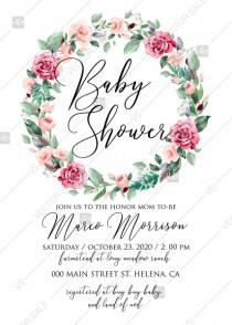 wedding photo -  Baby shower invitation wreath watercolor rose floral greenery 5 x 7 in PDF custom online editor decoration bouquet