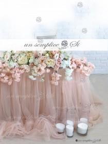"wedding photo - Tulle Chiffon Table Skirt  / 57"" Length / Extra  Long  Tulle Table Skirt"