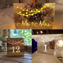 wedding photo - String of Lights Table Numbers • Dusty ROSE, GOLD, or SILVER Foil Mercury Glass Cardstock • Luminaries • Wedding Table Number Luminaries