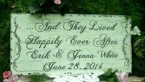 wedding photo - Wood Wedding Sign Personalized Wedding Sign Rustic Wedding Signs Happily Ever After Wedding Sign Name Date Wedding Sign