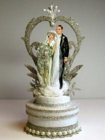 wedding photo - 1920s Garden Deco Wedding Cake Topper