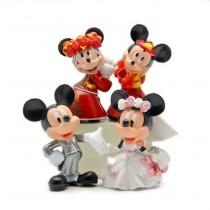 "wedding photo - Mickey & Minnie  Mouse  Wedding Cake Toppers 2- 1/4"" Tall ( 4 - pc Set )"