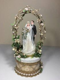 wedding photo - Vintage Garden Wedding Cake Topper, Keepsake Box in Gold and Blush Pink with Green