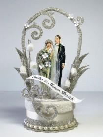 wedding photo - 1920's Deco Wedding Cake Topper